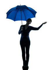 woman holding umbrella palm gesture silhouette