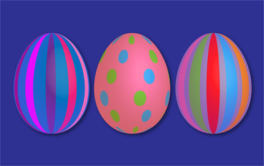 Abstract colorful vintage 3d easter eggs stripes blue background