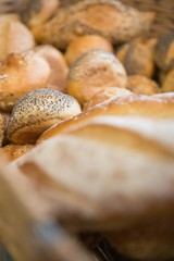 Close up of delicious breads freshly baked