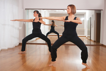 two women making a fitness exercises in synchrony