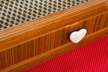 Colored drawer wooden furniture with heart shaped knob