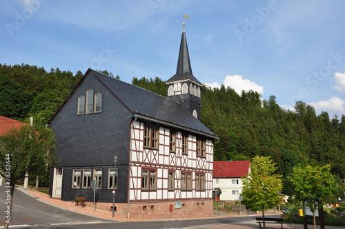 canvas print picture Fachwerkkirche in Bermbach / Thüringen