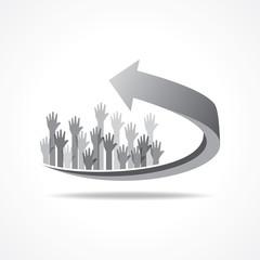 Vector Illustration of raised hand on business arrow