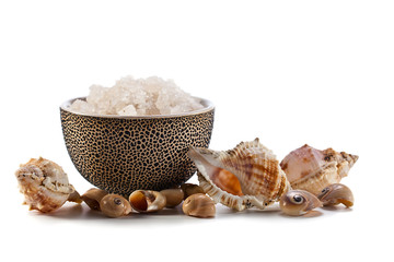 Sea salt  on  white background
