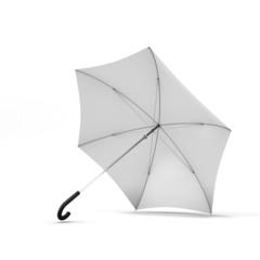 Open white umbrella isolated on a white background