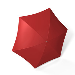 Red umbrella isolated over white