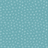 Blue Seamless Pattern with Bacteria and Germs