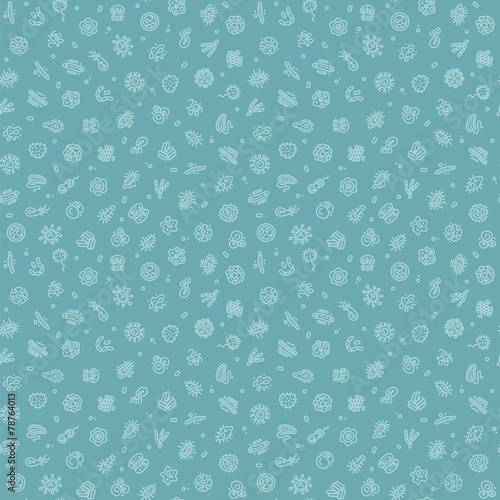 Blue Seamless Pattern with Bacteria and Germs - 78764013
