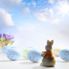 art Little Easter bunny and Easter eggs