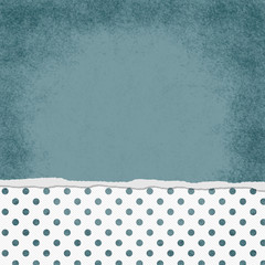 Square Blue and White Polka Dot Torn Grunge Textured Background