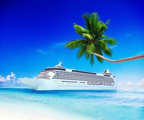Cruise Ship Travel Beach Seascape Vacation Concept