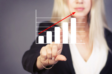 Woman with chart web online business diagram.