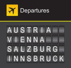 Austria flip alphabet airport departures, Vienna