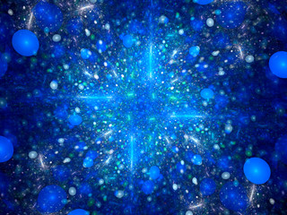 Blue glowing fractal with bubbles
