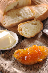 Apricot jam for breakfast on bread