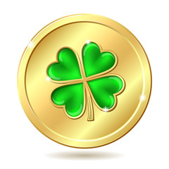 Golden coin with clover.