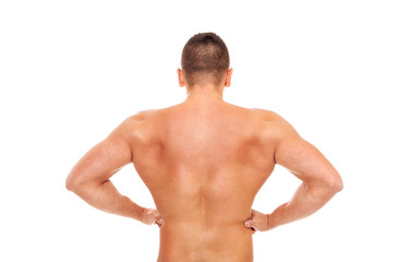 Trained bodybuilder back over white isolated background