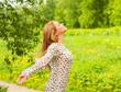 Beautiful Young Woman Outdoors. Enjoy Nature. Beauty Girl Outdoo