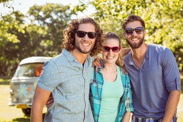 Hipster friends smiling at camera