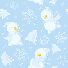 Seamless pattern with snowmen