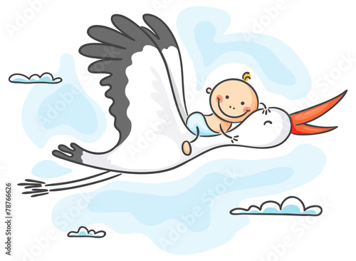 Stork carrying a baby - 78766626