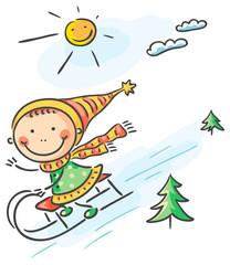 Girl's winter activities sledging