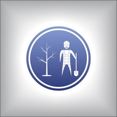 gardener with a shovel and tree. Icon in a circle vector designe