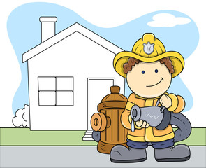 Fireman - Kids - Vector Illustration