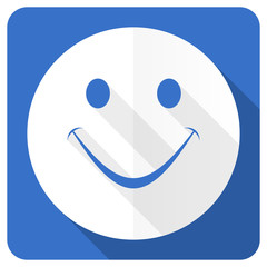 smile blue flat icon