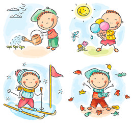 Boy's activities during the four seasons
