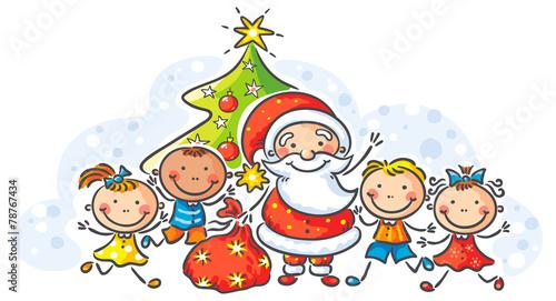 Cartoon Santa with kids