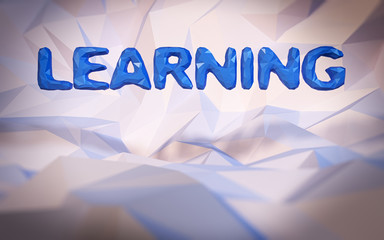 Abstract low-poly background. Word concept. Text learning. 3d re