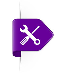 Screwdriver and spanner - Purple Arrow Sticker with Shadow