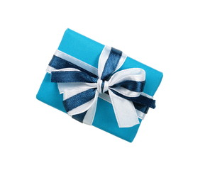 Wrapped blue gift box with ribbon bow