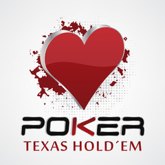 Texas holdem poker, 3D vector illustration with card symbol