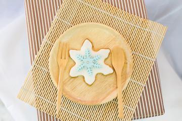 snowflake sugar cookie on dish