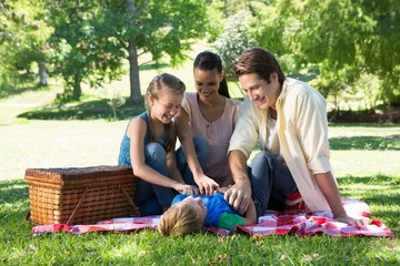 Happy family on a picnic in the park