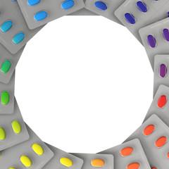 Hintergrund aus vielen bunten Tabletten