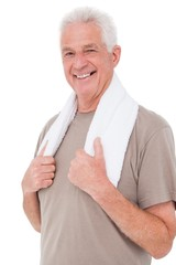 Senior fit man smiling at camera