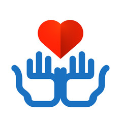colored hands and heart on a white background. charity icon