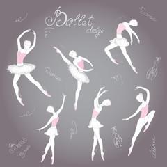 Set ballet dancers, hand drawn background
