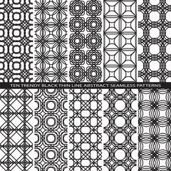 Set of Trendy Vintage Black Thin Line Seamless Pattern