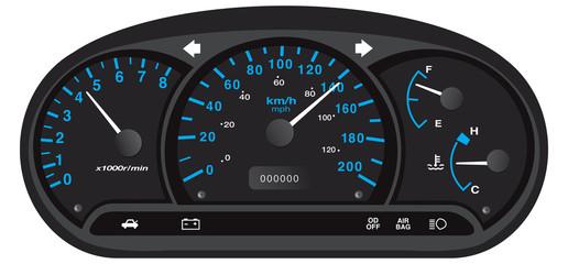 Black and blue car dashboard