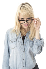 Happy Young Woman Wearing Glasses