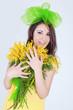 Obrazy na płótnie, fototapety, zdjęcia, fotoobrazy drukowane : Girl smile mimose