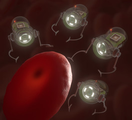 Nanobots surrounding an infected hemoglobin.