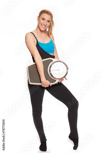 canvas print picture Junge Frau beim aufwaermen