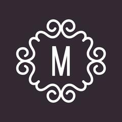 White Vector Vintage Twirl Frame for M Letter Monogram