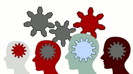 Gears rotate inside the brain power of teamwork