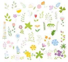 Набор цветочных графический набор, рука рисунок векторные